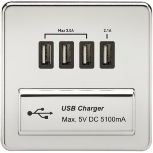 KnightsBridge 1G Screwless Polished Chrome Quad USB 5V Charger Outlet - Black Insert