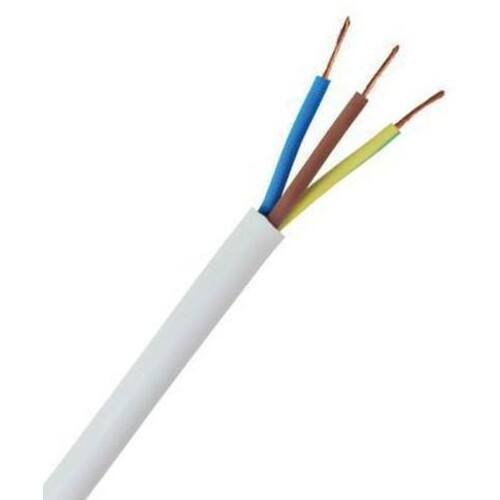 Zexum 1mm 3 Core Heat Flex Cable White Round 3183TQ - 25 Meter