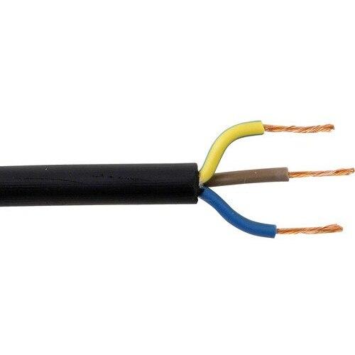 Zexum 1mm 3 Core Rubber Flex Cable Black Round 3183TRS - 5 Meter